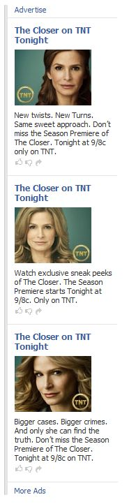 TNT The Closer Facebook ads